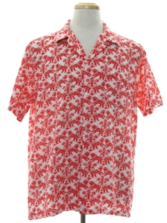 1980's Mens Mod Print Sport Shirt