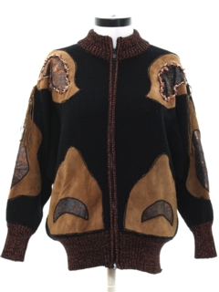 1980's Womens Totally 80s Leather Accented Sweater