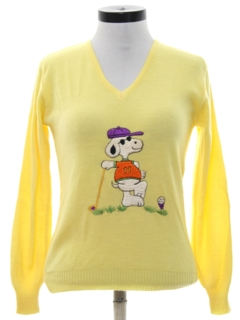 1970's Womens Snoopy Golf Sweater