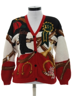 1990's Womens Kitschy Totally 80s Western Style Cardigan Sweater