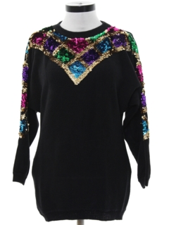 1980's Womens Totally 80s Sequined Cocktail Sweater