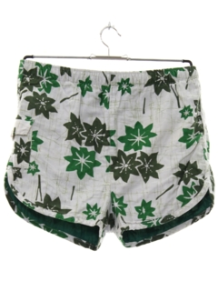 1960's Mens Mod Hawaiian Swim Shorts