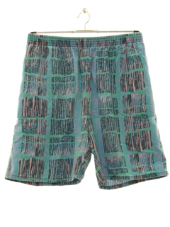 1980's Mens Totally 80s Print Baggy Board Shorts