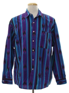 1980's Mens Totally 80s Southwestern Style Graphic Print Shirt