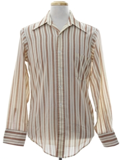 1970's Mens Mod Print Striped Shirt