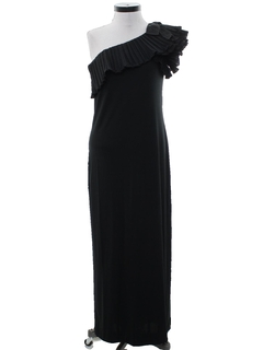 1980's Womens Totally 80s Designer Asymmetrical Cocktail Maxi Dress
