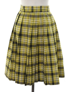 1960's Womens Mod Pleated Plaid Skirt