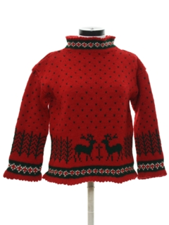 1980's Womens Reindeer Snowflake Sweater