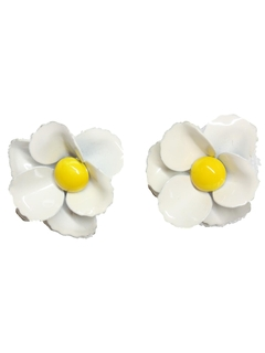 1960's Womens Accessories - Mod Clip on Enamel Earrings