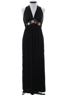 1970's Womens Hippie Style Cocktail Halter Maxi Dress