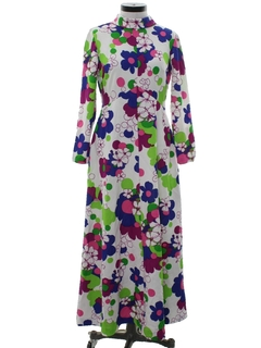 1970's Womens Pow-Flower Mod Knit Maxi Dress