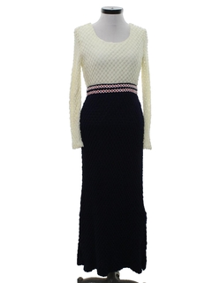 1960's Womens Knit Maxi Dress