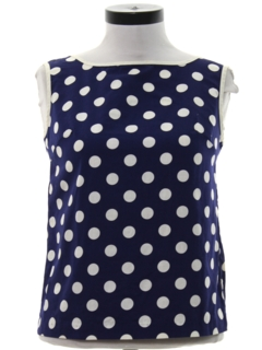 1960's Womens Mod Polka Dot Print Shirt