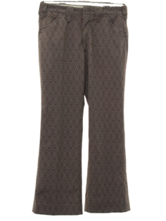 1970's Mens Mod Flared Western Style Print Leisure Pants
