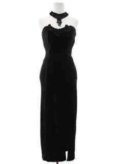 1980's Womens Totally 80s Velvet Wiggle Prom or Cocktail Maxi Dress