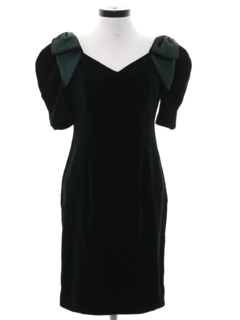 1980's Womens Totally 80s Velvet Wiggle Prom Or Cocktail Dress