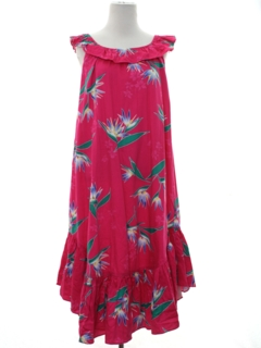 1980's Womens Totally 80s Hawaiian A-Line Muu Muu Dress