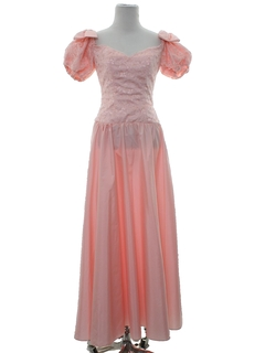 1980's Womens Totally 80s Maxi Pretty in Pink Style Prom Or Cocktail Dress