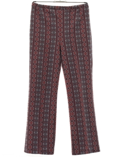 1970's Womens Flared Knit Mod Hippie Style Pants