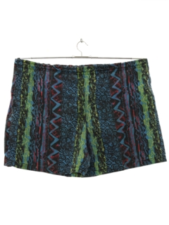 1980's Mens Totally 80s Baggie Print Swim Shorts