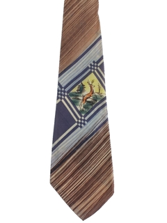 1940's Mens Hand Painted Wide Swing Necktie