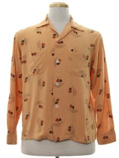 1950's Mens Rayon Gabardine Print Sport Shirt