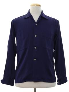 1950's Mens Rayon Gabardine Sport Shirt