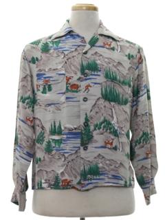 1940's Mens Print Rayon Sport Shirt