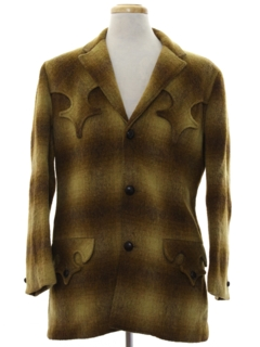 1960's Mens Mod Western Wool Blazer Sport Coat Jacket