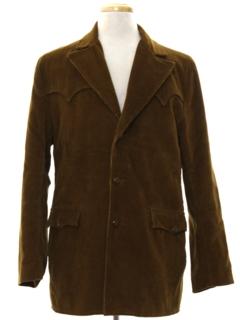 1960's Mens Western Corduroy Blazer Sport Coat Jacket