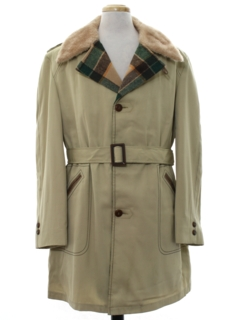 1960's Mens Car Coat Style Overcoat Trench Jacket