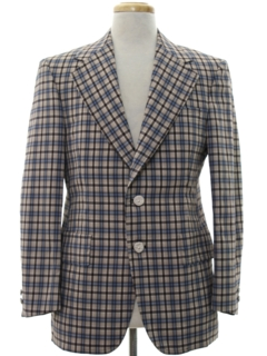 1970's Mens Plaid Disco Style Blazer Sport Coat Jacket