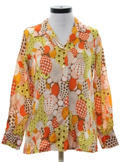 1960's Womens Op-Art Print Hippie Shirt