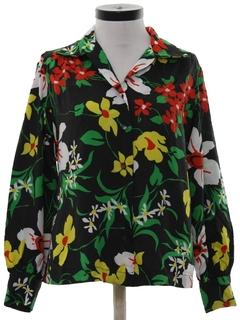 1970's Womens Floral Print Shirt