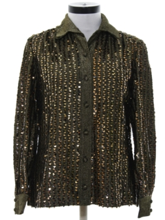 1970's Womens Sequined Cocktail Shirt