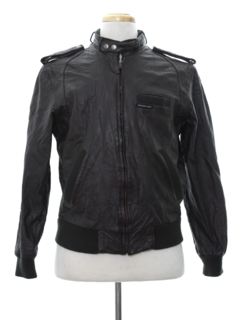 1980's Mens Members Only Cafe Racer Leather Jacket
