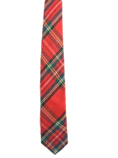 1980's Mens Tartan Plaid Wool Necktie