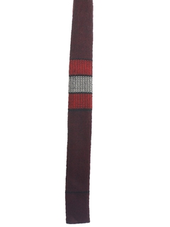 1960's Mens Skinny Mod Square Bottom Wool Necktie