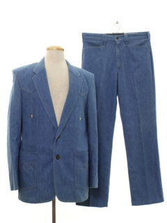 1970's Mens Western Style Denim Disco Suit