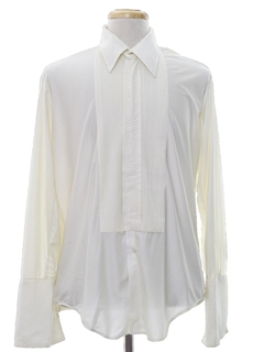 1970's Mens French Cuff Pleated Tuxedo Shirt