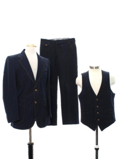 1970's Mens Denim Three Piece Disco Suit