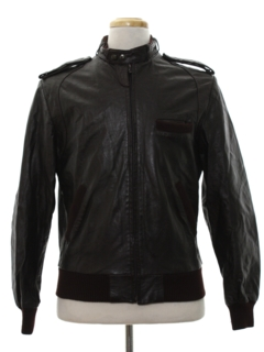 1980's Mens Leather Cafe Racer Members Only Style Jacket