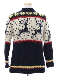 1980's Mens Wool Reindeer Ski Sweater