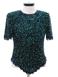 1980's Womens Totally 80s Designer Beaded and Sequined Cocktail Shirt