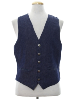 1970's Mens Denim Suit Vest