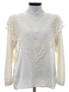 1980's Womens Totally 80s Lace Secretary Shirt