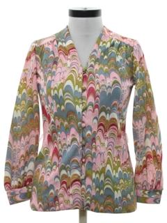 1970's Womens Psychadelic Print Mod Shirt