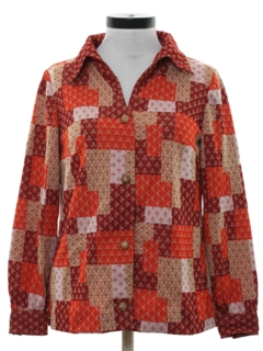 1960's Womens Hippie Knit Leisure Shirt Jacket