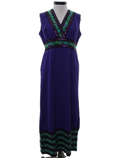 1970's Womens Knit Hippie Maxi Dress