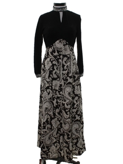 1960's Womens Hippie Cocktail Maxi Dress